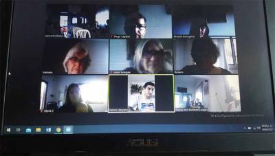 Imagen de la Asamblea Anual online del Centro Gure Txokoa de Azul, en la provincia de Buenos Aires