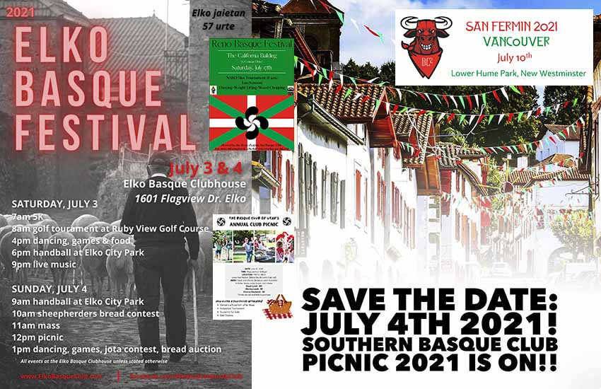 Some Basque picnic posters that will be celebrated this summer (northern hemisphere) in the United States