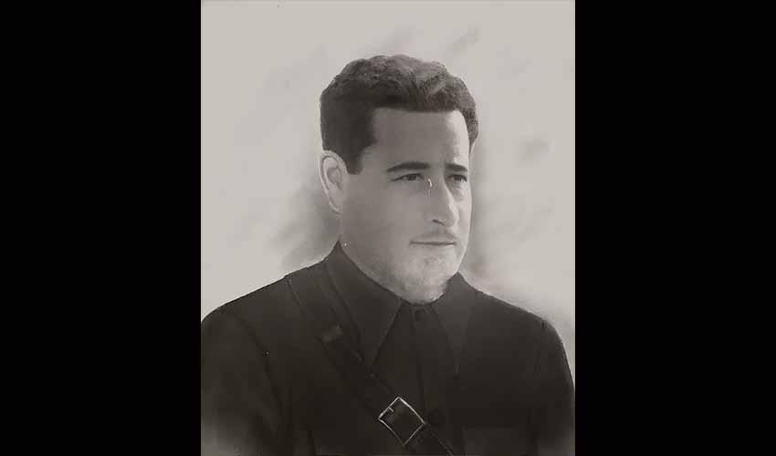 Félix Gallarreta Gaviña, comandante del batallón Meabe nº 2 Stalin, en un cuadro que encargó su mujer tras su fallecimiento (foto cortesía de la familia Gallarreta)
