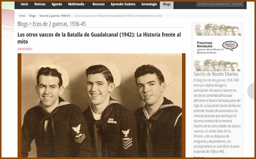 Domingo Amuchastegui (center) and his brothers Julián (left) and John, US WW2 Veterans (courtesy Amuchastegui family)