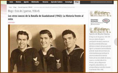 Domingo Amuchastegui (centro) y sus hermanos Julián (izda) y John, veteranos de la Armada USA en la SGM (cortesía fam Amuchastegui)