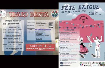 Fiestas Vascas del Basque Cultural Center de San Francisco, a fines de agosto; y de Saint Pierre y Miquelón a mediados