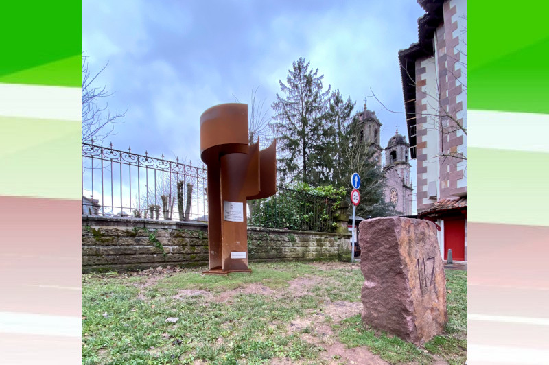 """""""Babesaren Muga – Border of Refuge,"""" work by Mikel Iriarte that was erected in 2020 in Elizondo as a point of memory"""