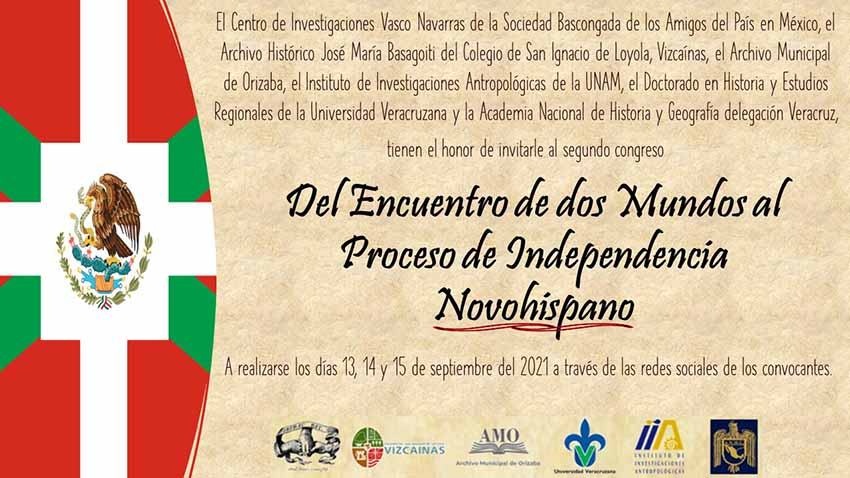"""Inauguración hoy (15:55 hora local, 22:55 EH) del Congreso online """"Del encuentro de 2 mundos al proceso de independencia novohispana"""""""