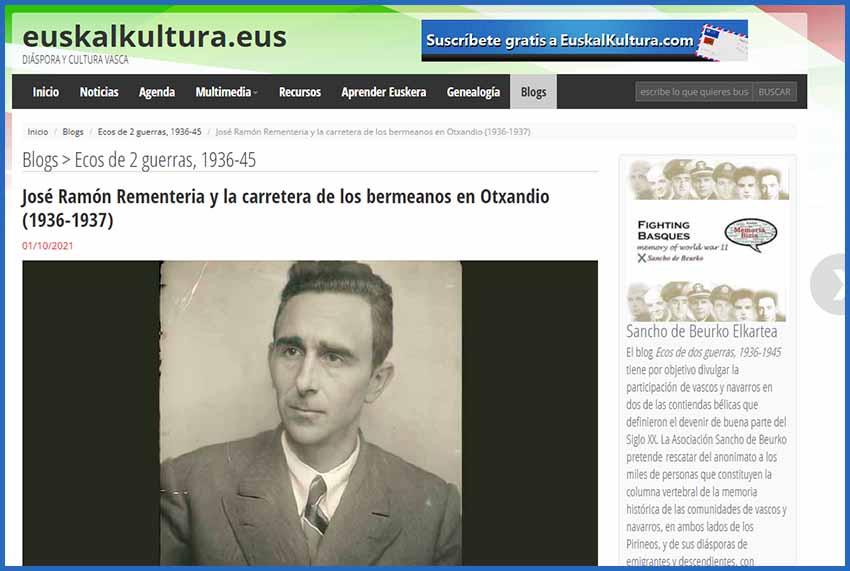 Gure historiako pasadizo eta pieza berri bat 'Ecos de 2 guerras, 1936-1945' blogaren baitan