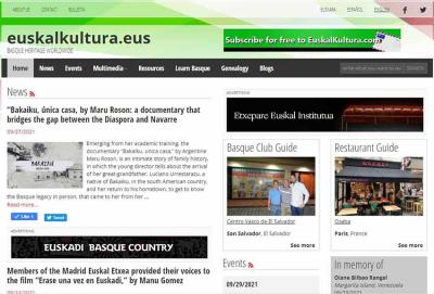 Last week's cover and news section of EuskalKultura.eus including one of its last English editions