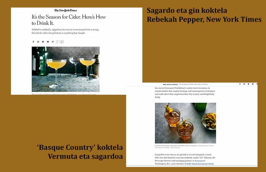 'Basque Country' koktela, sagardoa eta vermutarekin; eta 'Gin-sagardoa' dira New York Times-ek biltzen dituen kokteletako bi